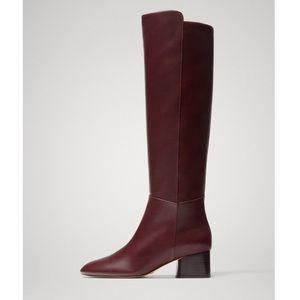 NWT MASSIMO DUTTI burgundy sheep leather boots